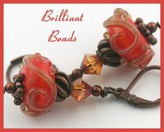 Orange & Antiqued Copper Handmade Lampwork Bead by Gillianbeads