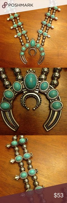 """Native American Indian Tribal Necklace Native American turquoise necklace. Silver tone 24"""" long. Faux turquoise. NEW!! And stunning!! Jewelry Necklaces"""