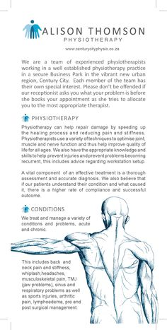 www.centuricityphysio.co.za Alison Thomson Physiotheraphy Flyer Page 1  Paying it forward printed by. www.printondemand.co.za Cape Town Printers