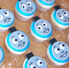 Thomas the Train Cupcakes - Made for a friend's 3 year old.  He loved them!  Fondant faces - piped buttercream details.