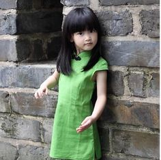 New kids 2014 cheongsam robe en lin traditionnel chinois qipao solide. multicolore robe pour les enfants
