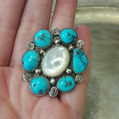"""Big Old Pawn Navajo Sterling MOP/ Turquoise Ring This Beautiful ring is by Priscilla Reeder, signed P. Reeder, and marked STERLING. Ring measures 1 3/4"""" Long x 1 3/4"""" Wide weight is 15 grams. Very pretty. SIZE 8. PRICE IS FIRM UNLESS BUNDLED Vintage Jewelry Rings"""