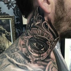 Neck tattoo. Clock and all seeing eye