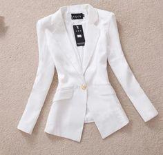 2015 primavera nuevas mujeres Blazers Soild Color de manga larga blanco y negro de la chaqueta abrigos mujeres Outwear traje