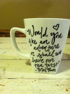 Peter Pan Handpainted Mug by RosieAndCozy on Etsy https://www.etsy.com/listing/180464426/peter-pan-handpainted-mug
