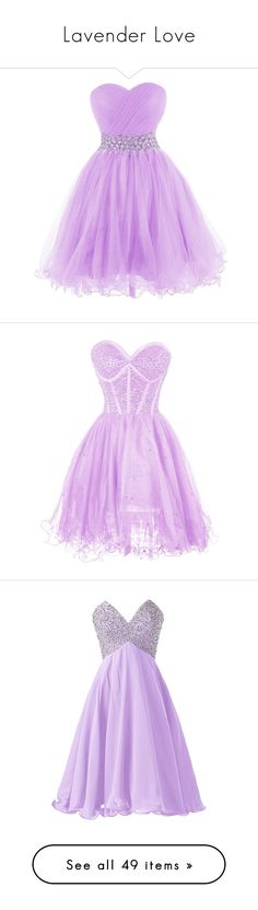 """Lavender Love"" by mscody on Polyvore featuring dresses, gowns, short prom gowns, prom ball gowns, homecoming dresses, prom dresses, purple evening gown, pink dress, beaded dress and beaded cocktail dress"