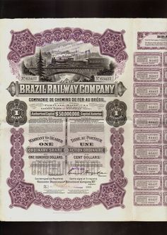 BRAZIL RAILWAY COMPANY DD 1912 USD 100 with 40 dividend coupons + 1 talon | eBay