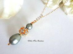 Swarovski Powder Green Pearl Necklace Fall by DebraAnnCreations