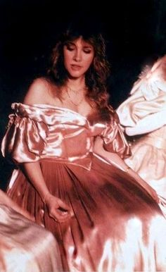 beautiful Stevie ~ ☆♥❤♥☆ ~  wearing an off-the-shoulder apricot satin ball gown as worn in the Civil War era for the Scarlett version of 'Stand Back',  a song written and recorded by Stevie and part of her 1983 album 'The Wild Heart' ~  she has often told the story of how she wrote the song, on the day of her marriage to Kim Anderson on January 29, 1983 & how Prince helped her with  the melody; Stevie recorded the demo in the honeymoon suite that night…