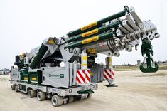 Combination of a World Power crane on a Greiner carrier for heavy indoor assemblies