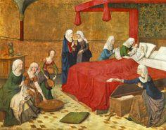 The birth of Mary, 1470 Precis vid kistan står ett par patinor, av en spetsigare typ. Också de har ett band över foten, men här korsformat....