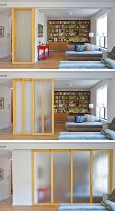 29 sneaky tips for small space living - install sliding walls! (for privacy while maintaining an open feel) Room Divider functional room dividers (for small spaces!) 29 Sneaky Tips & Hacks For Small Space Living High Gloss Rolling Doors for MyInstall slid Interior Design Living Room, Living Room Decor, Living Rooms, Design Interiors, Diy Casa, Small Space Living, Small Rooms, Kids Rooms, Small Apartments