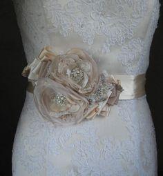 Wedding bridal sash belt, Vintage burlap rustic sash, Beige Nude Tan Champagne Ivory 2 flower romantic - ribbon belt dress sash lace pearl on Etsy, $94.00