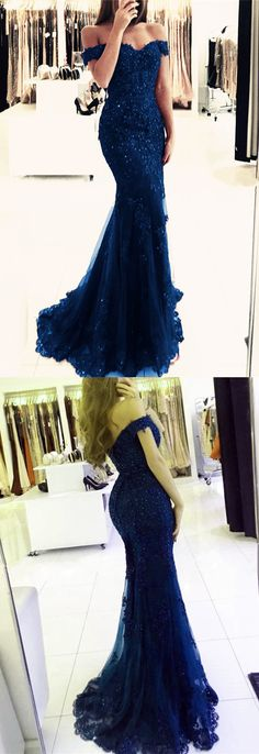 Navy Blue Lace Off The Shoulder Prom Dresses Mermaid V-neck Evening Gowns For Formal Occasions