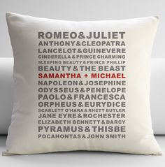 Cushion with names of famous lovers including wedding couple