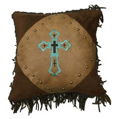 Santa Cruz Turquoise Embroidered Cross Pillow - Lone Star Western Decor Rustic Bedding Sets, Western Bedding, Western Bedrooms, Leather Bed, Leather Pillow, Fur Pillow, Toss Pillows, Accent Pillows, Turquoise Bedding