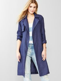 Gap Linen Trench in true indigo.