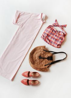 Styled by Deyla, our Pink Chemise Longue, Gingham Bathing Suit, Coral Zou Xou Mules, and Cornhusk Summer Tote Daniel Wellington, Gingham, Bathing Suits, Coral, Stylists, Clothes For Women, Lady, Summer, Pink