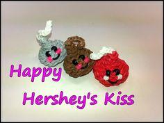 Happy Hershey's Kiss (Chocolate Chip) Tutorial by feelinspiffy (Rainbow Loom) Rainbow Loom Tutorials, Rainbow Loom Patterns, Rainbow Loom Creations, Rainbow Loom Bands, Rainbow Loom Charms, Rainbow Loom Bracelets, Rubber Band Crafts, Rubber Bands, Loom Animals