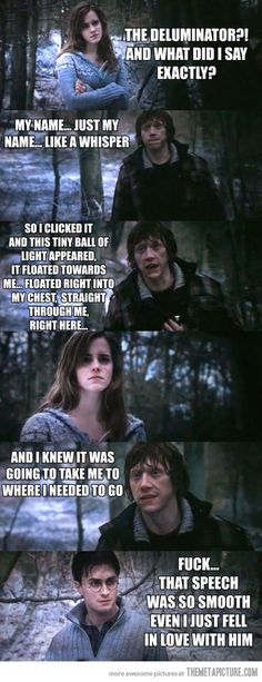 Hahahahaha yes this part was so amazing!!!! How could you not love ron!