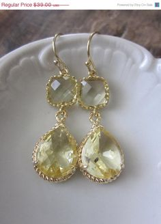 Citrine Earrings in Gold | Bridesmaid Gift