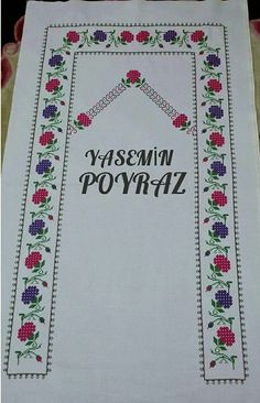 Çilekli seccade Cross Stitch Designs, Cross Stitch Patterns, Prayer Rug, Baby Knitting Patterns, Hello Kitty, Diy And Crafts, Prayers, Projects To Try, Floral