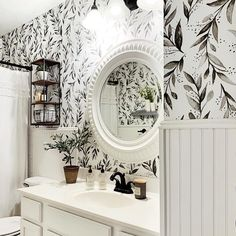 I realized today that I've only shared our Magnolia wallpapered bathroom just … – Home Office Design On A Budget Small Bathroom Wallpaper, Bathroom Accent Wall, Home, Kids Room Wallpaper, Home Office Design, Home Wallpaper, Bathrooms Remodel, Bars For Home, Magnolia Bathroom