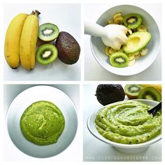 """No cook recipe! Kiwi, banana & avocado purée I'd serve this to … ""No cook recipe! Kiwi, banana & avocado purée I'd serve this to my son. As I know Kiwi is not a highly allergenic fruit so there should be no…"" Baby Puree Recipes, Pureed Food Recipes, Baby Food Recipes, Cooking Recipes, Baby Bullet Recipes, Avocado Baby Food, Healthy Baby Food, Ripe Avocado, Food Baby"