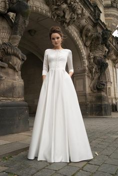 24 Modest Wedding Dresses Of Your Dream ❤ modest wedding dresses a line with long sleeves simple noranaviano ❤ Boho Wedding Dress With Sleeves, Making A Wedding Dress, Long Sleeve Wedding, Modest Wedding Dresses, Bridal Dresses, Dress Making, Bridesmaid Gowns, Gown Wedding, Dress Lace