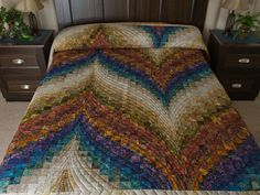 Bargello Flame Quilt -- exquisite skillfully made Amish Quilts from Lancaster (hs6811). --------------------------------------- Love this, one day I will make a Bargello Quilt--TD.