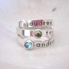 Personalized Birthstone Name Ring | Mommy Ring | Hip Mom Jewelry