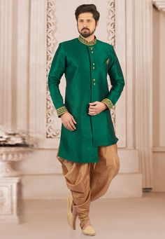 0d977a9178ac Buy Green Art Silk Readymade Indo Western Suit 154939 online at lowest  price from our mens