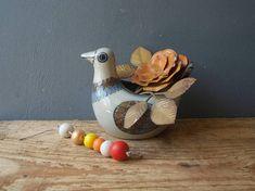 Porcelain Vase DOVE / Home Decor  Love Bird with Folk Print /