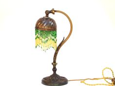 Antique French Art Nouveau Lamp Brass Gooseneck Anglepoise Table Lamp Light With Beaded Shade Bedside Illumination Home Decor Lighting I came