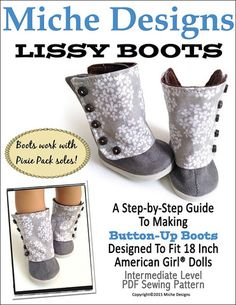 Miche Designs Lissy Boots Doll Clothes Pattern 18 inch American Girl Dolls | Pixie Faire