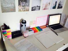desk, notebooks, laptops, supplies, art