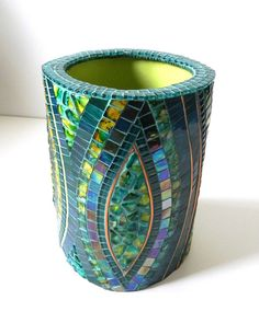 Mosaic Art - Large Stained Glass Mosaic Vase on Ceramic in Blue, Turquoise and Yellow,Accented with Copper