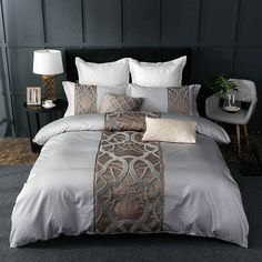 Cheap king bed set, Buy Quality cotton bedding set directly from China sheet set Suppliers: Silver Grey luxury Egyptian cotton bedding set queen king bed set Chinese embroidery duvet cover bed sheet set pillowcase Cheap Bedding Sets, Cotton Bedding Sets, Queen Bedding Sets, Duvet Sets, Duvet Cover Sets, Affordable Bedding, King Size Comforter Sets, Bed Covers, Bed Sets