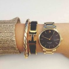 Maximum style Arm Candy Peachy-nude watch by Kate Spade. Baume & Mercier Riviera XXL White Dial Black Rubber Mens Watch Kate Spade New York Hermes Bracelet, Bracelet Watch, Pandora Bracelets, Black Face Watch, Casual Mode, Kate Spade Watch, Jewelry Accessories, Fashion Accessories, Earrings