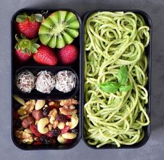 29 Healthy Vegan Bento Box Ideas and Recipes for Lunch - Vegan Basil Pesto Pasta, Fruit, Energy Balls, Nuts Basil Pesto Pasta, Spinach Pasta, Pesto Zoodles, Healthy Snacks, Healthy Eating, Vegan Lunches, Vegan Meal Prep, Lunch Box Recipes, Meal Planning