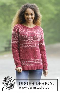 Knitted jumper with round yoke and multi-coloured Norwegian pattern, worked top down. Sizes S - XXXL. The piece is worked in DROPS Merino Extra Fine. Free pattern by DROPS Design. Jumper Patterns, Sweater Knitting Patterns, Knit Patterns, Clothing Patterns, Drops Design, Fair Isle Knitting, Free Knitting, Magazine Drops, Pulls