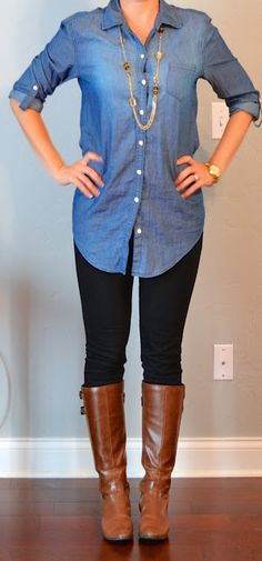 "a long fit-to-curves button down over skinny jeans & tall boot. long chunky necklace. this is a very ""elongating"" look."