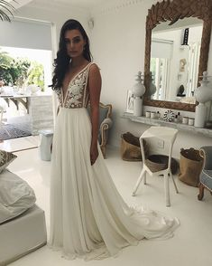 Bohemian A-line Wedding Dress, Boho Simple V-neck Wedding Dress, Backless Wedding Gown Bridal Dress sold by joepaldress. Shop more products from joepaldress on Storenvy, the home of independent small businesses all over the world. V Neck Wedding Dress, Backless Wedding, Boho Wedding Dress, Boho Dress, Bridal Dresses, Wedding Gowns, Dress Meaning, Custom Dresses, Dress For You