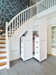 Hall Brubakken Home AS Understairs Storage Brubakken hall home UnderstairsStorage Staircase Storage, Stair Storage, Staircase Design, Stairs With Storage, Under Stairs Nook, Under Stairs Storage Solutions, Basement Master Bedroom, Hallway Designs, House Stairs