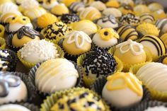 Yellow, black and white cake balls Mini Cupcakes, Cupcake Cakes, Yellow Party Decorations, Take The Cake, New Flavour, Creative Activities, 21st Birthday, Yellow Black, 50th