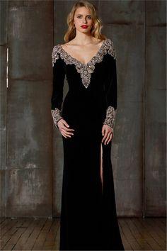 C03052 frente frisado divisão perna Sexy vestido de veludo de manga comprida preto com decote em v até o chão uma linha vestido de noite 2016
