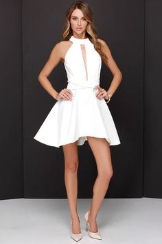 Pretty Ivory Dress - Halter Dress - White Dress - $187.00