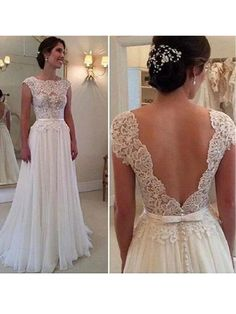 A-line Lace Appliqued wedding dress,Cap Sleeves wedding dresses,Ivory Chiffon Long wedding dress,backless wedding gowns
