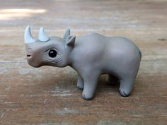 Rhino: Handmade miniature polymer clay animal by AnimalitoClay