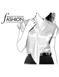 Fashion Designer Sewing Patterns - Capped-Sleeved Tie-Neck Blouse
